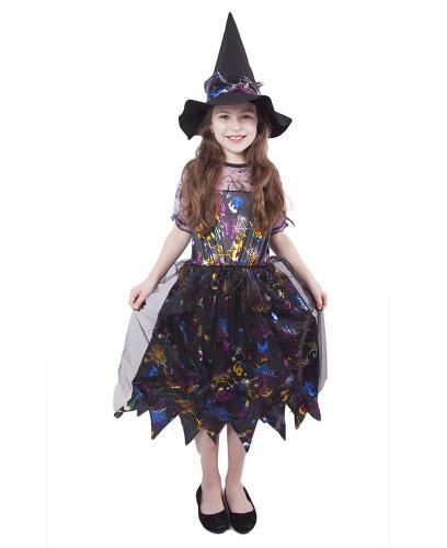 Karnevalový kostým čarodějnice barevná, vel. S