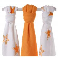 KIKKO Bambusové pleny XKKO BMB Orange Stars MIX 70x70cm - 3ks