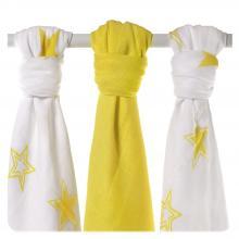 KIKKO Bambusové pleny XKKO BMB Lemon Stars MIX 70x70cm - 3ks