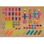"""Unikátní """"ježatá"""" stavebnice z příjemného měkkého materiálu s různobarevnými díly. Obsahuje 75 kusů."""
