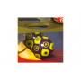 4 barevné míčky a dráha se zrcátky na zadní straně pro ještě bláznivější jízdu. Jízda začíná bouchnutím kladívka do míčku!