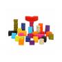 """26 kusů """"kostek"""" různých tvarů, barev a velikostí s písmeny a zvířaty. Měkký plastový materiál, po zmáčknutí pískají. V dárkové tašce na zip s držadlem do ruky pro snadné uklízení i přenášení."""