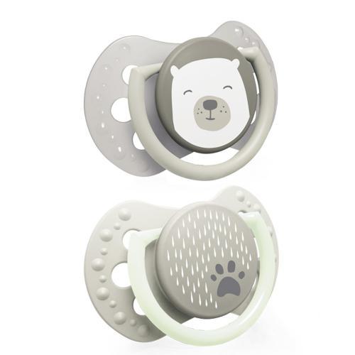 LOVI dudlík s mini štítkem silikonový dynamický Buddy Bear 2ks 0-2m