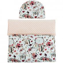 Esito Luxusní dětská deka s polštářem do kočárku MINKY 3 v 1 lososová
