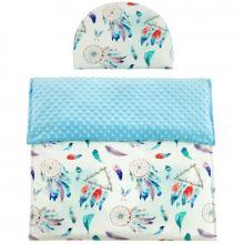 Esito Luxusní dětská deka s polštářem do kočárku MINKY 3 v 1 modrá