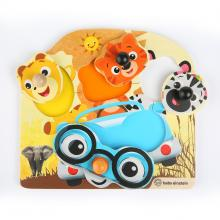 Baby Einstein Hračka dřevěná puzzle Friendy Safari Faces HAPE, 12m+
