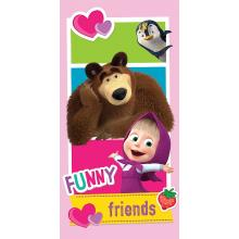 Jerry Fabrics plážová osuška Máša a Medvěd Friends 70x140 cm