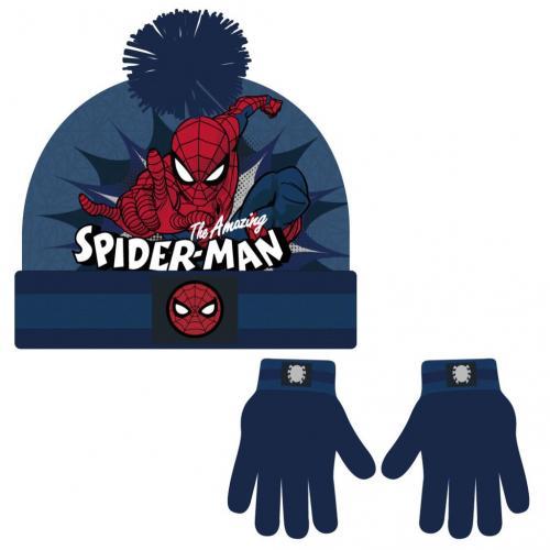 Cerdá Sada rukavice, čepice s bambulí - Spiderman