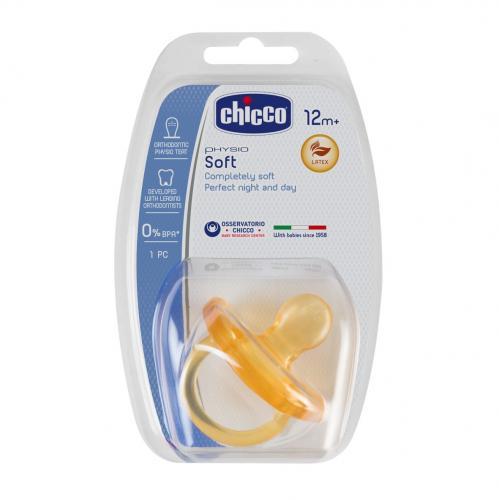 Chicco dudlík Physio Soft CELOKAUČUKOVÝ ortodontický 1ks, 16-36m
