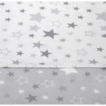 Tomi Povlečení do postýlky K2 tisk - Hvězdy bílá-šedá 135x100 cm