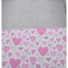 Tomi Povlečení do postýlky K2 - Minky srdce šedá-růžová 135x100 cm