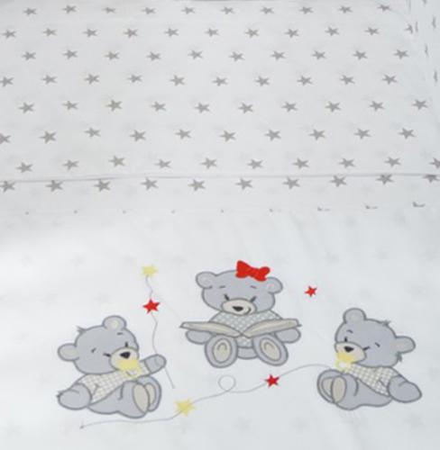 Tomi Povlečení do postýlky K2 výšivka - Rodina šedá-šedá 135x100 cm