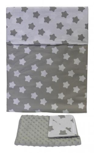 Tomi Povlečení do postýlky K2 - Minky hvězdy šedá-šedá 135x100 cm