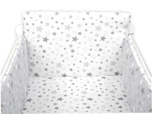 Tomi Povlečení do postýlky K3 tisk - Hvězdy bílá-šedá 135x100 cm