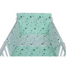 Tomi Povlečení do postýlky K3 tisk - Hvězdy bílá-zelená 135x100 cm
