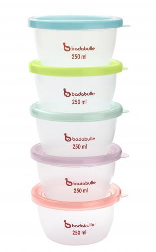 Badabulle misky s víčky MAXI 250 ml, sada 5 ks