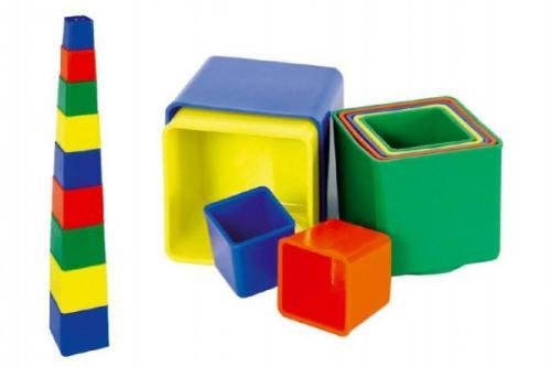 Teddies Kubus pyramida skládanka hranatá plast asst 4 barvy 9ks v sáčku 9x9x9cm 12m+