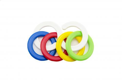 Teddies Chrastítko kousací kroužky plast 6x10cm v sáčku 0m+