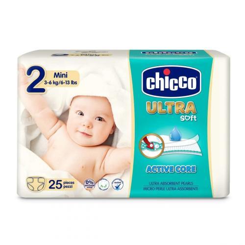 Chicco Jednorázové pleny Chicco Ultra Mini (3-6 kg) 25 ks