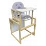 Multifunkční dětská dřevěná jídelní židlička s polstrováním. Dodává se s polstrovanou židličkou, pultem a velkým stolečkem. Jídelní židlička se spojuje se stolečkem do zvýšeného posedu.