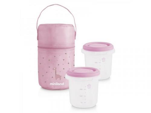 Miniland Termoizolační pouzdro + kelímky na jídlo Pink 2ks