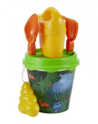 Ecoiffier Kyblíček Džungle s konvičkou a příslušenstvím, 17 cm