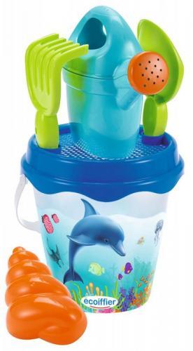 Ecoiffier Kyblíček Delfín s konvičkou a příslušenstvím, 17 cm