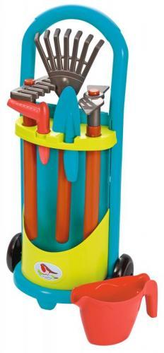 Ecoiffier Vozík se zahradním nářadím a konvičkou modrá