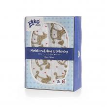 KIKKO Biobavlněná plena XKKO Organic Rocking Horses Gold 120x120 cm