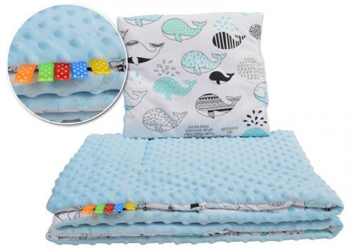Tomi peřinky do kočárku - Minky velryba modrá