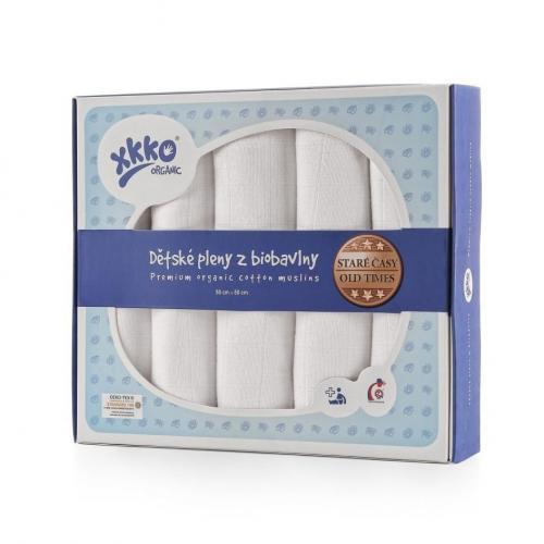 KIKKO Dětské pleny z biobavlny XKKO Organic 80x80 cm Staré časy - Bílé, 5ks