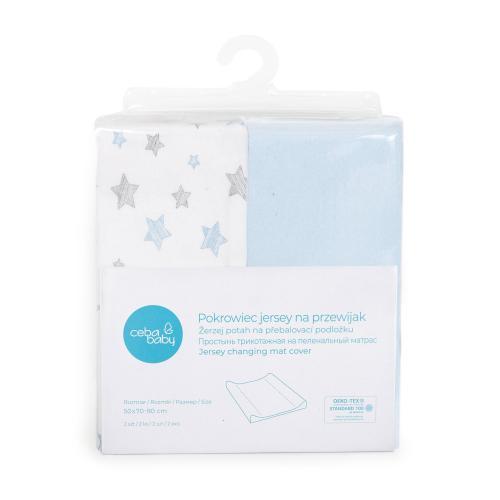 Ceba baby Potah na přebalovací podložku Blue + Blue Stars 50x70-80 cm, 2 ks