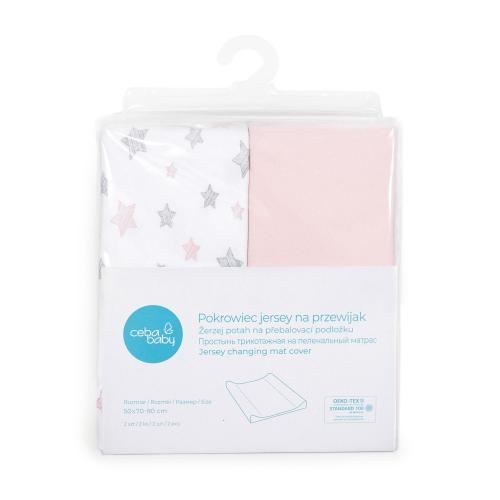 Ceba baby Potah na přebalovací podložku Candy pink + Pink Star 50x70-80 cm, 2 ks