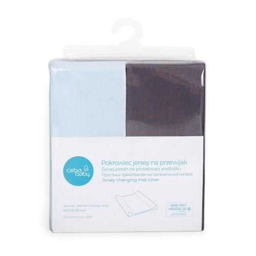 Ceba baby Potah na přebalovací podložku Dark grey + Blue 50x70-80 cm, 2 ks