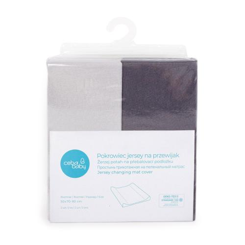 Ceba baby Potah na přebalovací podložku Dark grey + Light grey 50x70-80 cm, 2 ks
