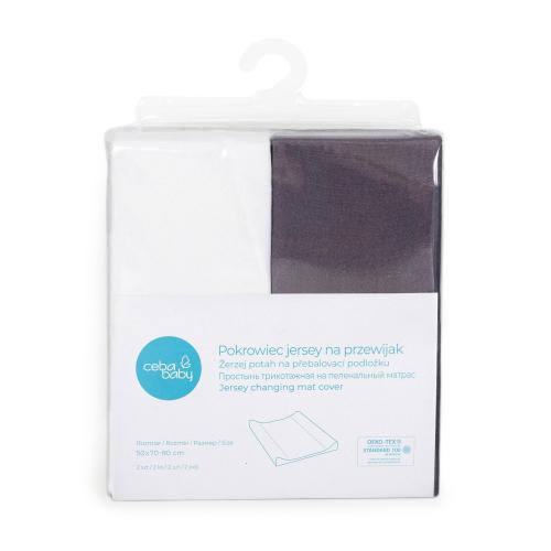 Ceba baby Potah na přebalovací podložku Dark grey + White 50x70-80 cm, 2 ks