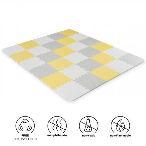 Kinderkraft Podložka pěnové puzzle Luno Yellow 30 ks 150x180 cm