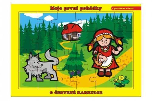 Teddies Puzzle deskové Moje první pohádky 26x17 cm, 24 dílků - O Červené Karkulce