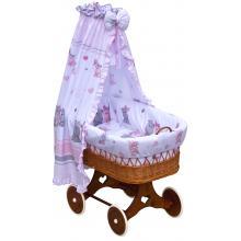 Scarlett Proutěný koš na miminko s nebesy Pupis růžová