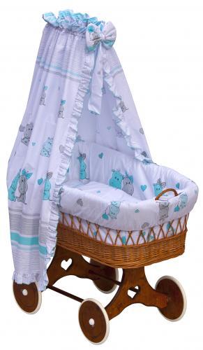 Scarlett Proutěný koš na miminko s nebesy Pupis modrá