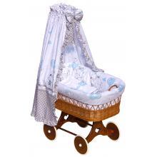 Scarlett Proutěný koš na miminko s nebesy Gusto modrá