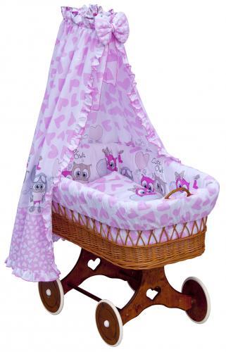 Scarlett Proutěný koš na miminko s nebesy Kulíšek růžová