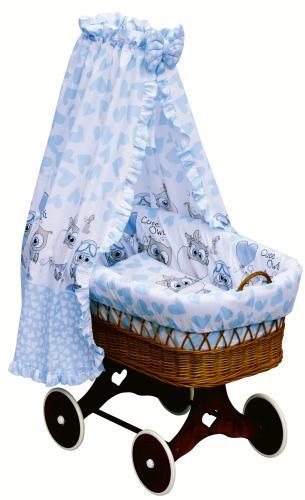 Scarlett Proutěný koš na miminko s nebesy Kulíšek modrá