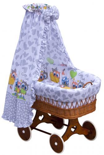 Scarlett Proutěný koš na miminko s nebesy Kulíšek šedá