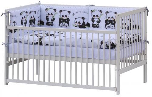 Scarlett Postýlka 140 x 70 cm s kompletní výbavou Panda bílá