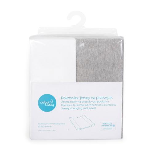 Ceba baby Potah na přebalovací podložku Light grey melange + White 50x70-80 cm, 2 ks