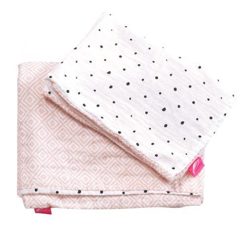 Motherhood Povlečení bavlněné mušelínové do postýlky 2dílné Pro-Washed Pink Squares