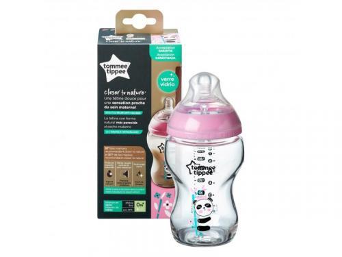 Tommee Tippee Kojenecká láhev C2N skleněná potisk Pink, 250 ml, 0m+