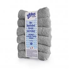 KIKKO BIO bavlněné froté ubrousky XKKO Organic 21x21cm Silver, 6 ks