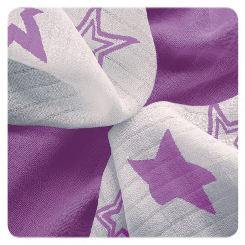 KIKKO Bambusové ubrousky XKKO BMB Lilac Stars MIX 30x30 cm - 9 ks
